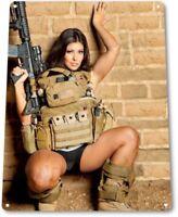 Artillery Pinup Girl Sexy Combat Military Man Cave Gun Wall Decor Metal Tin Sign