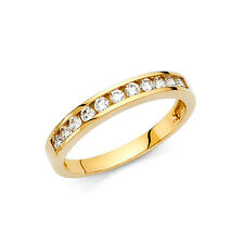 14k Solid Yellow Gold Wedding Band 0.50 ct Round Cut Channel Set Classic Ring
