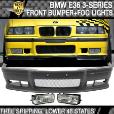 1992-1998 BMW E36 M3 Style PP Full Front Bumper Conversion Body Kit + Clear Fog