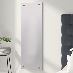 Mirror W/Drilled Rectangle Bedroom Holes & Chrome Cap Wall Fixing Kit 30 x120 cm