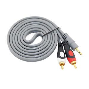 1.5M Gold 3.5mm Mini Headphone Jack Stereo to 2x RCA Phono Red White Audio Lead