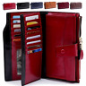 Women Genuine Leather Long Wallet Money Card Holder Clutch Purse RFID Blocking
