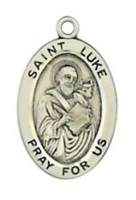 Patron Saint St Luke 7/8 Inch Oval Sterling Silver Medal on Rhodium Plated Chain