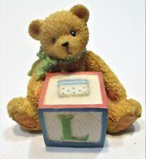 Cherished teddies Bear with - L- block figurine 158488L Enesco