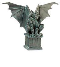 Antique Effect Gargoyle on Pedestal Figurine Statue Gothic Decor