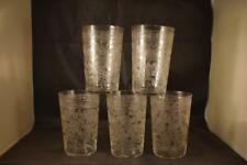 STUNNING ANTIQUE BEAUTIFUL VICTORIAN FINE ETCHED GLASS X5 TUMBLER GLASSES