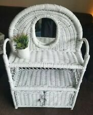 Vintage White Wicker Rattan Bathroom Shelf Vanity Cabinet With Mirror