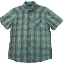 Arcteryx Mens Button Down Shirt Short Sleeve Aqua Blue Gray Plaid Size Small. C9
