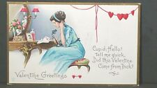 Cupid Hello Tell Me Quick Did This Valentine Come From Dick Unused Post Card 27C
