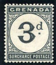 Grenada 1892 QV Postage Due 3d blue-black MLH. SG D3. Sc J3.