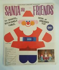 Vtg Santa Friends Topple Proof Sitting Christmas Decoration Paper Play 1967 NOS
