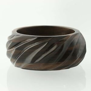 """New Statement Bangle Bracelet Brown Wood Mother of Pearl Mosaic 8"""" Chunky"""