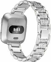 Diamond watch Band Stainless Steel Strap women Wrist Bracelet For Fitbit Versa