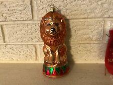 Vintage Circus Lion On Drum Silvered Mercury Glass Christmas tree Ornament