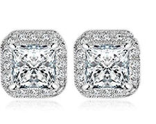 Womens 3Ct Halo Princess Cut CZ Stainless Steel Stud Fashion Earring