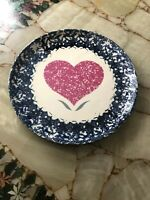 Vintage Stoneware Handmade Blue & White Spongeware Plate with Heart Design