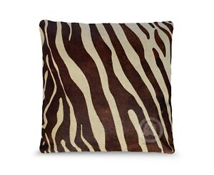 """Zebra Brown Stripes on Beige 15X15"""" Cushion Leather Pillow Cover"""