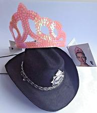 2 x Joke HATS Policeman Helmet & pink Sequin Princess Tiara fancy dress *NEW*