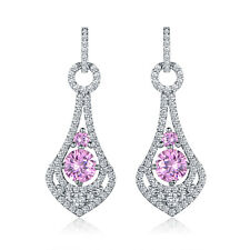 HUCHE Flock Hollow Drop Style Pink Sapphire Diamond White Gold Filled Earrings