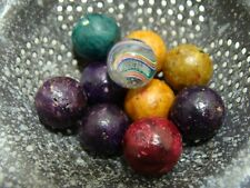 10 Vintage/Antique Marbles Handmade Clay Beautiful Glass Peewee Swirl Clean Lot