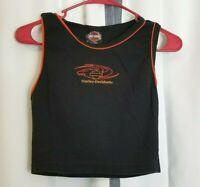 Harley Davidson Stone Mountain GA Women's Medium M Black Orange Trim Top Shirt