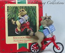 1987 Hallmark Raccoon Biker Keepsake Ornament Gift Bike CUTE Christmas Vintage