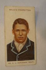 1908 Vintage Wills Cricket Card - K.L. Hutchings - Kent.