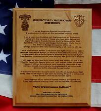 Personalized Special Forces Creed Plaque Fort Bragg military Green Beret custom