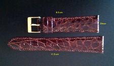 Watchband genuine crocodile - Dark brown 20mm - Yellow Buckle * MINT