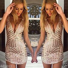 Sexy Women Fashion Sequin Bodycon Bandage Party Cocktail Evening Club Mini Dress