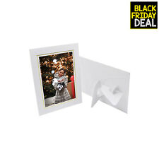 Pack of 25 Cardboard Photo Easel Frame for 5x7 Photos White with Golding Lining
