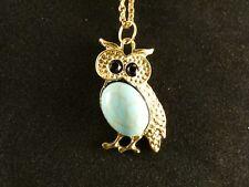 Eule Halskette 24 Karat Vergoldet Uhu Nachtvogel Rhinestone Necklace Wald Blau