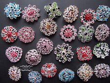 Brooch Lot 24 Silver Mixed Color Pin Rhinestone Crystal Wedding Bouquet DIY Kit