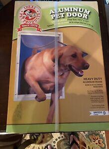 "Extra Large Deluxe Aluminum Frame Pet Door Magnetic Flap Dog Cat 10.5"" x 15"" NIB"