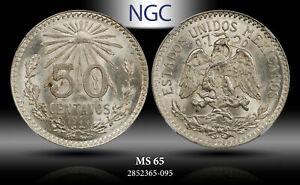 1944-Mo MEXICO SILVER 50 CENTAVO NGC MS65