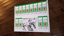 1979-80 BOSTON BRUINS TICKET SHEET OF 12 RAY BOURQUE RATELLE OILERS FLYERS BLUES