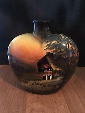 Vintage Majolika Porcelain Hand Painted SMF Schramberg Scenic Majolica Vase 1961