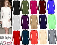 Celeb Ladies Plain Swing Women Shift Top Jersey Tunic Flared Mini Dress UK 08-22