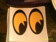 YELLOW NO FEAR EYES VINYL DECAL PAIR SHOTGUN AIR INTAKE HOOD SCOOP BUG CATCHER