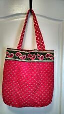 Large Quilted Handbag Tote - Red and Green Reversible