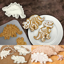 3PCS 3D Plastic Dinosaur Shaped Cookie Cutter Biscuit Pastry Fondant Cake Decor