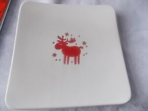 "Brand New 10"" Square Waechtersbach Reindeer Willie Red White dish"