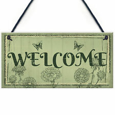 Welcome Sign Front Door Shed Garden SummerHouse Plaque Home Decor Friend Gift