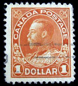 CANADA – Sc #122 – $1 – ORANGE – USED – 1925