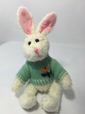 """Easter Bunny Rabbit Green Sweater Stuffed Animal 9"""" Jointed 7"""" Sitting 2.5"""" Ears"""