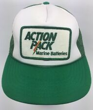Vtg 80s Action Pack Marine Boat Racing Battery Patch Trucker Interstate Hat