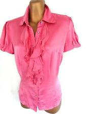 Silk Patternless Fitted Casual Tops & Shirts for Women