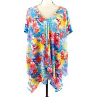 NY Collection Top Womens Plus Size 2X Blue Yellow Red Floral Short Sleeve Blouse