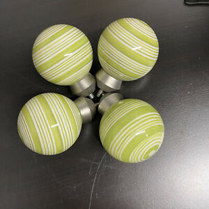 Pottery Barn Kids Green White Stripe Ball Ceramic Finials Set of 4