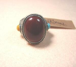 NEW LUCKY BRAND RED GEMSTONE SQUAMA SILVER TONE VINTAGE PUNK BANG RING SIZE-8
